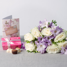 Hampers and Gifts to the UK - Send the Lilac Birthday Flowers with Chocolates and Card