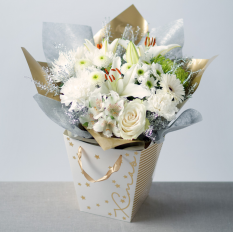 Hampers and Gifts to the UK - Send the Silver Bells Bouquet with Gift Bag