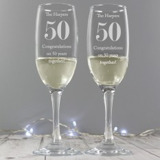 Hampers and Gifts to the UK - Send the Personalised Anniversary Flutes with Gift Box