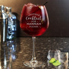 Hampers and Gifts to the UK - Send the Personalised Another Cocktail Please Balloon Glass