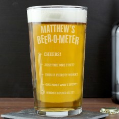 Hampers and Gifts to the UK - Send the Personalised Beer-o-Meter Pint Glass