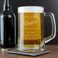 Hampers and Gifts to the UK - Send the Personalised Cheers! Tankard Glass