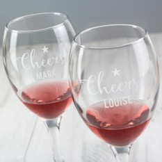 Hampers and Gifts to the UK - Send the Personalised Cheers Wine Glass Set