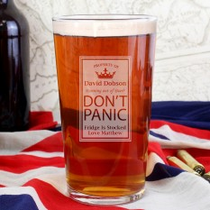 Hampers and Gifts to the UK - Send the Personalised Dont Panic Pint Glass