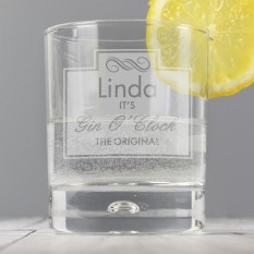 Hampers and Gifts to the UK - Send the Personalised Gin O'Clock Tumbler Glass