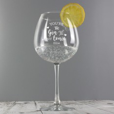 Hampers and Gifts to the UK - Send the Personalised 'Gin to My Tonic' Gin Balloon Glass