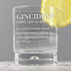 Hampers and Gifts to the UK - Send the Personalised Gincident Tumbler Glass