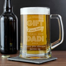 Hampers and Gifts to the UK - Send the Personalised Greatest Dad Tankard Glass