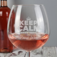 Hampers and Gifts to the UK - Send the Personalised Keep Calm and Drink Wine Balloon Glass
