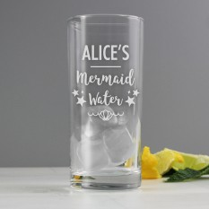 Hampers and Gifts to the UK - Send the Personalised Mermaid Water Highball Glass