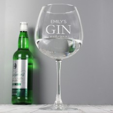 Hampers and Gifts to the UK - Send the Personalised Name Gin Balloon Glass