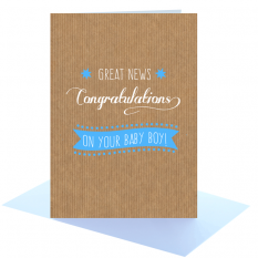 Hampers and Gifts to the UK - Send the Congratulations Baby Boy Greeting Card