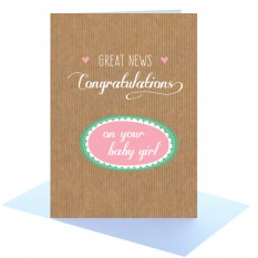Hampers and Gifts to the UK - Send the Congratulations Baby Girl Greeting Card