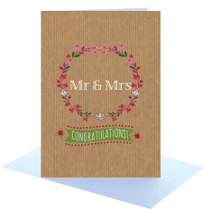 Hampers and Gifts to the UK - Send the Congratulations Mr and Mrs Greeting Card