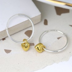 Hampers and Gifts to the UK - Send the Sterling Silver Hoop Earrings with Gold Hearts