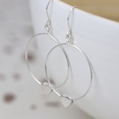 Hampers and Gifts to the UK - Send the Sterling Silver Circle and Heart Drop Earrings