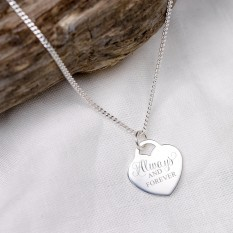 Hampers and Gifts to the UK - Send the Personalised Always and Forever Heart Necklace