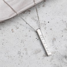 Hampers and Gifts to the UK - Send the Personalised Roman Numeral Bar Necklace