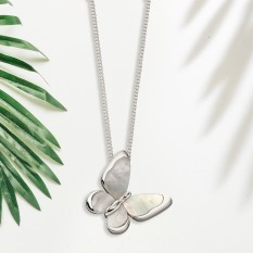 Hampers and Gifts to the UK - Send the  Sterling Silver Mother of Pearl Butterfly Necklace