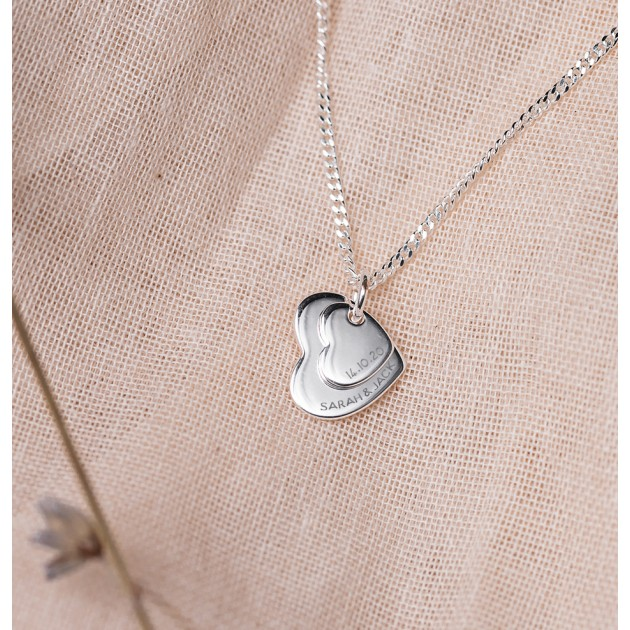Hampers and Gifts to the UK - Send the Personalised Sterling Silver Double Heart Pendant