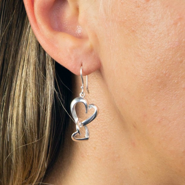 Hampers and Gifts to the UK - Send the Sterling Silver Layered Heart Earrings