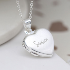 Hampers and Gifts to the UK - Send the Personalised Sterling Silver Brushed Heart Locket