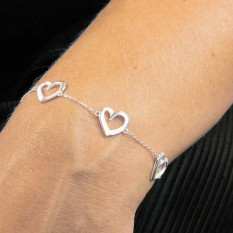Hampers and Gifts to the UK - Send the Sterling Silver Layered Heart Bracelet