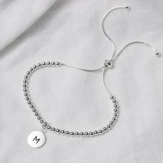 Hampers and Gifts to the UK - Send the Personalised Initial Letter Slider Bracelet