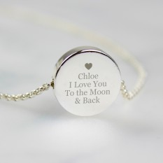 Hampers and Gifts to the UK - Send the Personalised Any Message Silver Disc Necklace