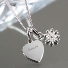 Hampers and Gifts to the UK - Send the Personalised Heart and Daisy Sterling Silver Necklace