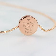 Hampers and Gifts to the UK - Send the Personalised Heart Rose Gold Disc Necklace
