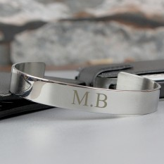 Hampers and Gifts to the UK - Send the Personalised Initials Stainless Steel Bangle