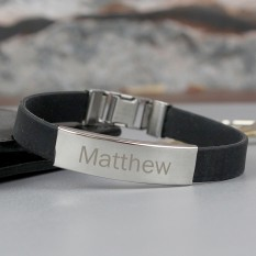 Hampers and Gifts to the UK - Send the Personalised Name Mens Black Bracelet