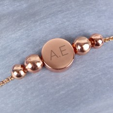 Hampers and Gifts to the UK - Send the Personalised Rose Gold Initials Bead Bracelet