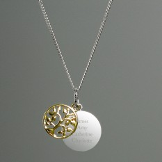 Hampers and Gifts to the UK - Send the Personalised 9ct Gold Family Tree Of Life Necklace