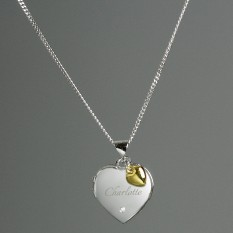 Hampers and Gifts to the UK - Send the Personalised Sterling Silver and Diamond Heart Locket Necklace with Gold Charm