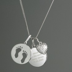 Hampers and Gifts to the UK - Send the Personalised Sterling Silver Footprints and Heart Necklace
