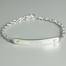 Hampers and Gifts to the UK - Send the Personalised Sterling Silver and 9ct Gold Bar Bracelet