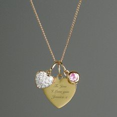 Hampers and Gifts to the UK - Send the Personalised Sterling Silver and 9ct Gold Heart Necklace