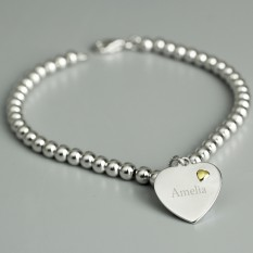Hampers and Gifts to the UK - Send the Personalised Sterling Silver and 9ct Gold Heart Bracelet