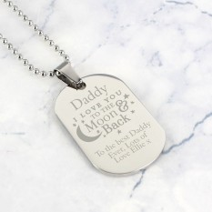 Hampers and Gifts to the UK - Send the Personalised 'To The Moon & Back...' Stainless Steel Dog Tag Necklace
