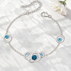 Hampers and Gifts to the UK - Send the  Sterling Silver Blue Topaz Circles Bracelet