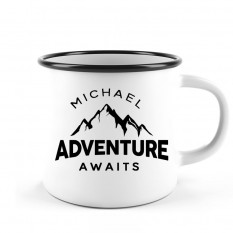 Hampers and Gifts to the UK - Send the Personalised Adventure Awaits Camping Mug