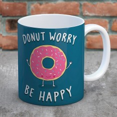 Hampers and Gifts to the UK - Send the Donut Worry Be Happy Mug