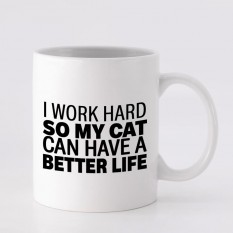Hampers and Gifts to the UK - Send the I Work Hard For My Cat Mug