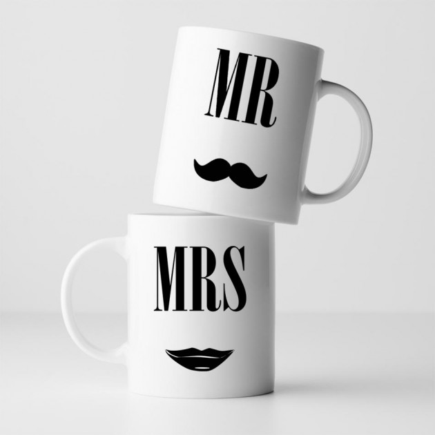 Hampers and Gifts to the UK - Send the Mr and Mrs Mug Set