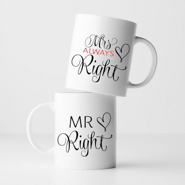 Hampers and Gifts to the UK - Send the Mr and Mrs Right Heart Mug Set
