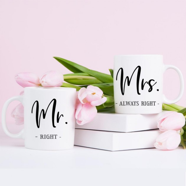 Hampers and Gifts to the UK - Send the Mr Right Mrs Always Right Mug Set