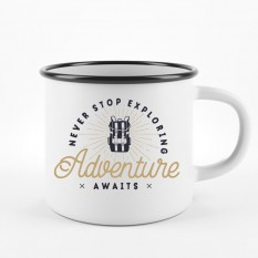 Hampers and Gifts to the UK - Send the Never Stop Exploring Camping Mug