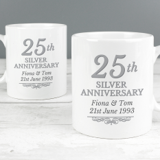 Hampers and Gifts to the UK - Send the Personalised 25th Silver Anniversary Mug Set